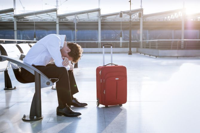Businessman missing his flight